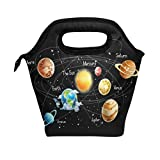 WOZO Universe Galaxy Solar System Space Insulated Lunch Bag Tote Bag Cooler Lunchbox Handbag for Outdoors School Girl Boy
