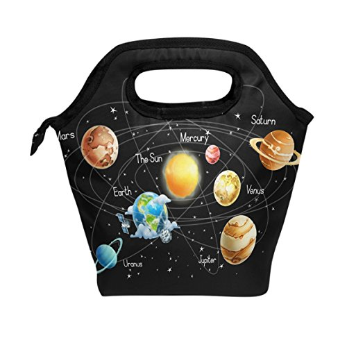 WOZO Universe Galaxy Solar System Space Insulated Lunch Bag Tote Bag Cooler Lunchbox Handbag for Outdoors School Girl Boy by wozo