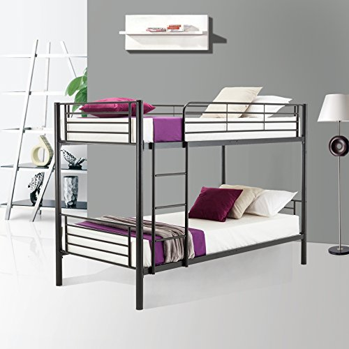 Bunk Bed Package - Mecor Metal Bunk Bed Twin Over Twin - with Removable Ladder and Guard Rail - Space Saving Design - Easy Assembly - Black