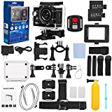 FINEC F60R Waterproof Sports Action Camera 4K 16 MP Ultra HD WIFI 170 Degree Angle Underwater Camcorder With 2.0Inch LCD Screen And Full Accessories Kits (Black)