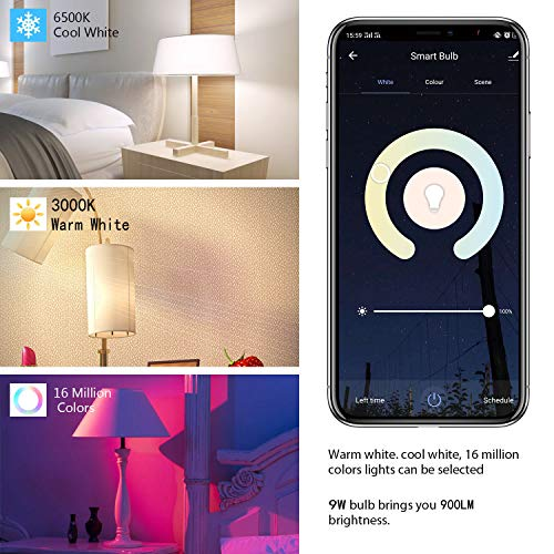 Smart Light Bulbs, 4 Pack 9W Smart Bulbs That Work with Alexa, Google Home (No Hub Required), RGB Color Changing Bulbs, A19 Smart Bulb Dimmable, E26 WiFi Multicolor Light Bulb 2.4G(Not 5G)