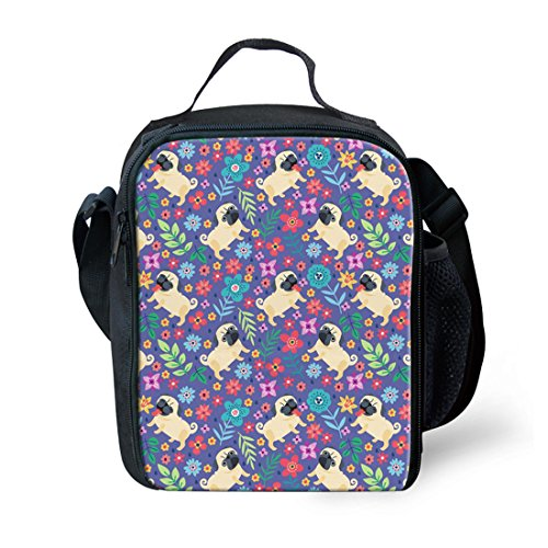Showudesigns - Bolsa de almuerzo reutilizable para niños y viajes al aire libre Small Horse Pug