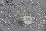 Kamas B26154-120 Mix size White with a silve light Colors Hexagon shape Glitter for Nail art and DIY supplies1pack=50g - (Color: 200g)