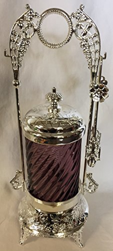 (Pickle Castor w/Tongs & Glass Insert - Old Fashion Victorian Style (Amethyst Spiral))