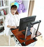 MagicHold® Height Adjustable Sit Stand computer stand mount table workstation for monitor(upto 27'')/any size laptop- Walnut wood color