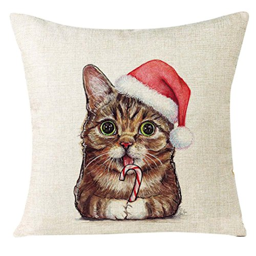 Clearance!Xmas Christmas Cat Linen Cushion Cover, Sofa Home Decoration Pillow Case 18
