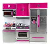 Barbie Kitchen Playset My Modern Kitchen Dishwasher Stove Refrigerator Battery Operated Toy Doll Kitchen Playset w/ Lights, Sounds, Perfect for Use with 11-12