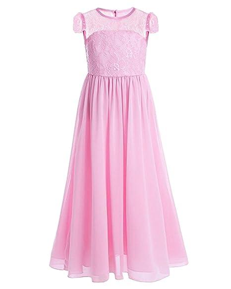 LaoZan Ragazze Pizzo Vestito Lungo Bambina Elegante Principessa Abito Garza  Abiti da Sera Matrimonio Cerimonia Pink c44d8b315d2