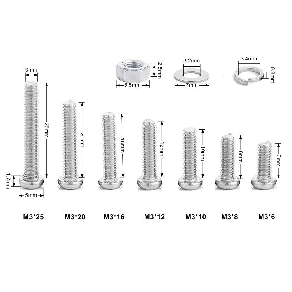 EN ACIER INOXYDABLE 304 360/pi/èces M2/M3/M4/Phillips Pan Head Vis Boulon /Écrou verrouillage Plat Rondelles Assortiment kit