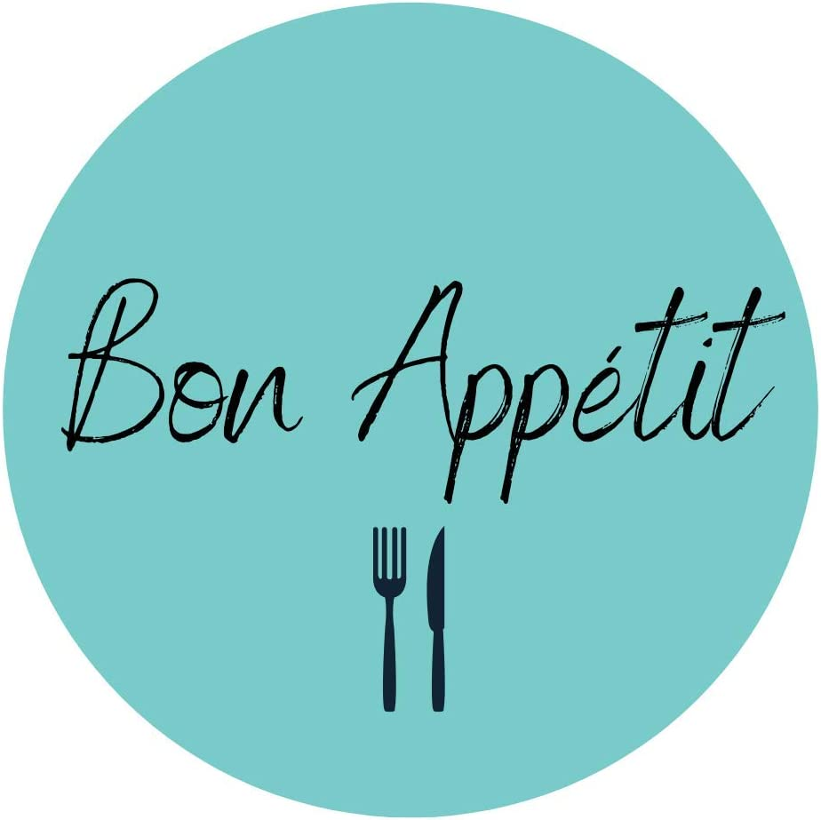 Mobiusea Party Bon Appetit Stickers Roll   1.5 inch   Waterproof   500 Labels for Food Service and Catering Business, Bakery Packaging   Mint Background with Black Hand-Brushed Font Design