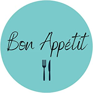 Mobiusea Party Bon Appetit Stickers Roll | 1.5 inch | Waterproof | 500 Labels for Food Service and Catering Business, Bakery Packaging | Mint Background with Black Hand-Brushed Font Design