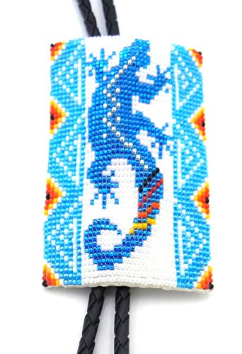 Palms Trading Co Authentic Navajo Hand-Beaded Bolo Ties by Welton Hoffman (Turquoise Gecko)