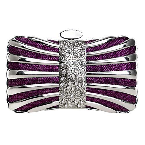 cerimonia del Borsa donne sera della partito del della di Rhinestone frizione Color nuziale di Silver delle Purple borsa n0IrH0
