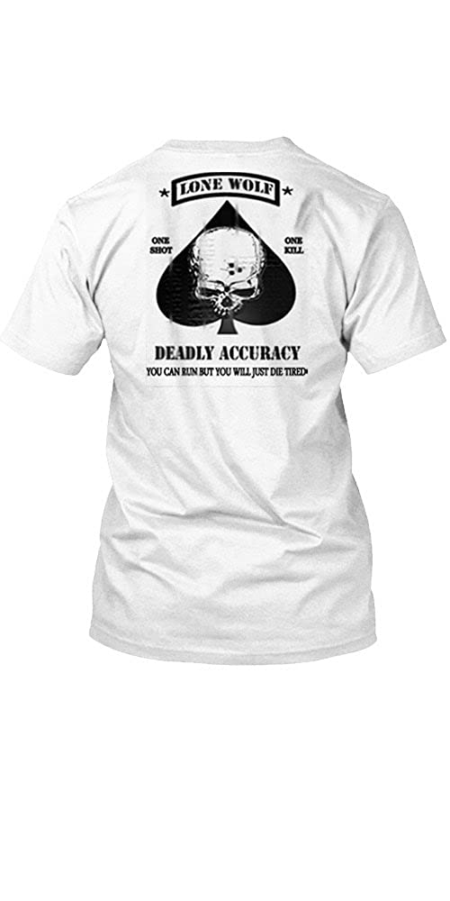 Black Ops Lone Wolf Sniper Spec Ops Military T Shirt 2 SIDED PRINT White