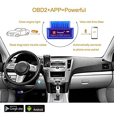 Foseal OBD2 Scanner Bluetooth, Bluetooth OBD2 OBD 2 Scan Tool OBDII Car Diagnostic Check Engine Light Code Reader for Android Windows for 1996 and Newer Gas Vehicles in The US, Supports Torque App: Automotive