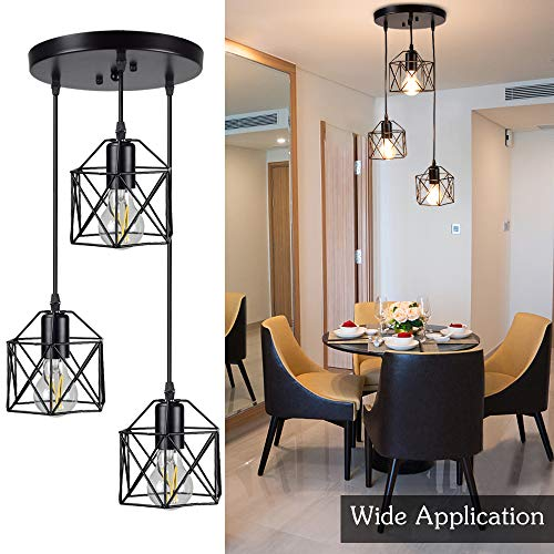 DLLT Vintage Pendant Light, Adjustable Mini Hanging Pedant Lights Fixture with 3-Light Cage Shade, Flush Mount Ceiling Swag Lighting for Kitchen/Dining Room/Hallway/Bedroom, E26 Base (Black)