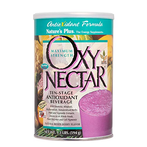 Berry Nectar - NaturesPlus Oxy Nectar - 1.3 lbs, Drink Powder - Natural Mixed Berry Flavor - 10 Stage Antioxidant Beverage Powder with Vitamins, Minerals & Protein - Vegetarian, Gluten-Free - 18 Servings
