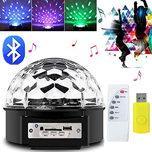 YAMADIE 6 Color Bluetooth Projection Light, Stage Light Music Crystal Magic Ball Light Mp3 Sound Control Color Light KTV Bar Disco DJ Light 16.516.514.5CM