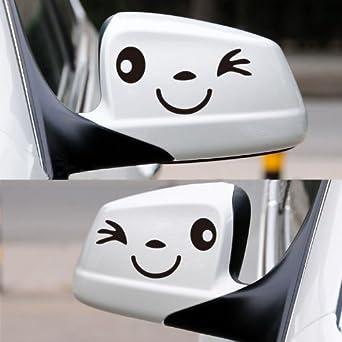 Happy Bargains Ltd SMILEFACECARDECALBLK Car Wing Door Mirror - Car window stickers amazon uk