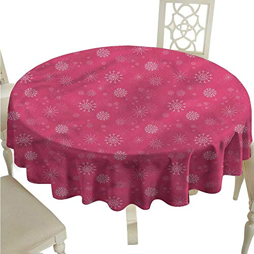 ScottDecor Printed Tablecloth Winter,Gentle Snow Feminine Jacquard Tablecloth Round Tablecloth D 50
