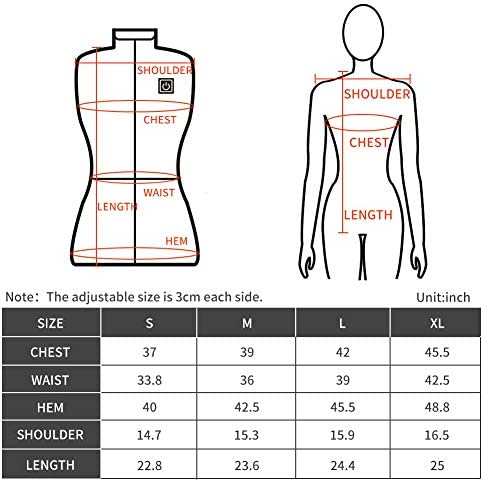 leebbus222 Women's Heated Vest USB Rechargeable Heated Vest Black For Skiing, Camping, Hiking