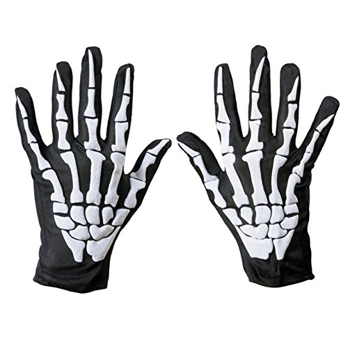 Demon Costume Gloves (Horror Ghost Claw Gloves 3D Skeleton Foam Gloves for Costume Party Black)