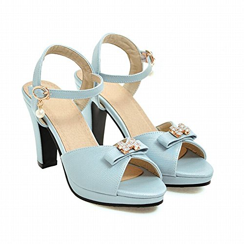Bows Buckle Sandals Heeled Womens Toe Rhinestones Blue Peep Carolbar Dress qyEO7Ufw66