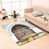Nalahome Custom carpet Golden Historical Fountain Photo in Morocco Africa Old Antique Mousque Palace Heritage Art Multi area rugs for Living Dining Room Bedroom Hallway Office Carpet (5' X 8')