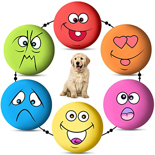 6PCS Dog Squeaky Toys Latex Soft Dog Toys Rubber Chewing Toy Fetch Play Balls for Puppy Small Medium Pets Dog Cat
