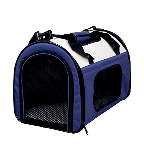 More Gold Lightweight Fabric Pet Carrier Crate with Fleece Mat and Food Bag – Large (70 x 52 x 52 cm), Blue