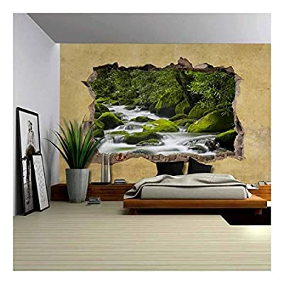 Quality Artwork, Pretty Artisanship, Cascading Spring in Tropical Forest Viewed Through a Broken Wall Large Wall Mural Removable Peel and Stick Wallpaper