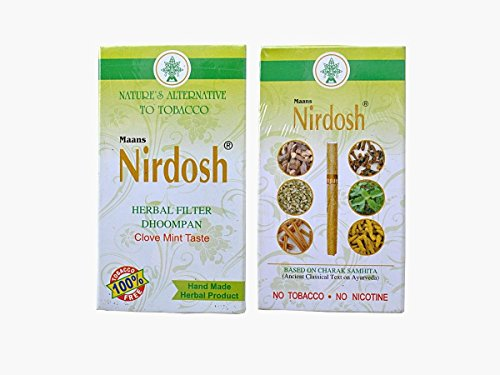 Nirdosh Nicotine & Tobacco FREE Herbal Cigarettes- Export Quality - 40 Cigarettes ( 2 Packs)