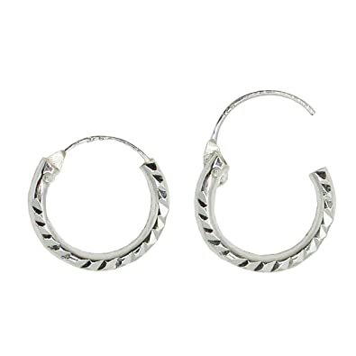 c1c298c09 Tiny Sterling Silver Diamond Cut Hinged Continuous Endless Hoop Earrings,  (2mm Tube) (