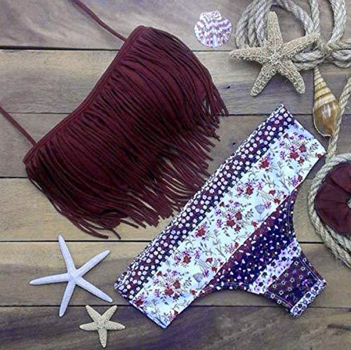 Lookvv Women Bikini Set with Tassels Bandage Push-Up Padded Swimwear Swimsuit Bathing Beachwear Purple Large