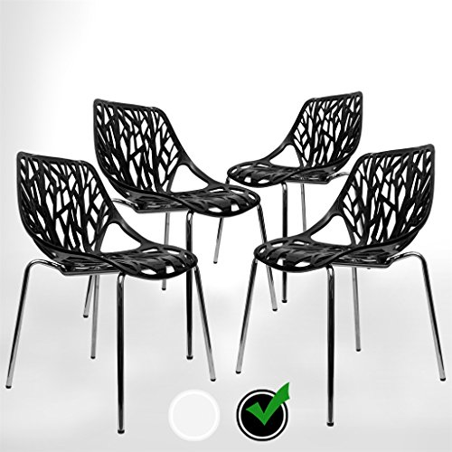 UrbanMod Black Modern Dining Chair | (Set of 4) Stackable Birch Sapling Accent Armless Side Chairs (Dining White Outdoor Wicker Sets)