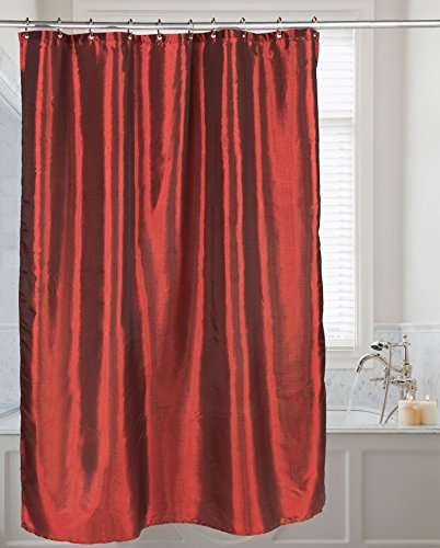 Carnation Home Fashions FSC15-FS/05 Shimmer Faux Silk Shower Curtain, Ruby