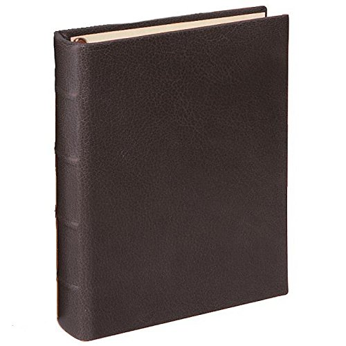 Small Ring Bound Clear Pocket Album, Genuine Italian Calfskin Leather, Holds 36 4x6 Pictures, Bright Mocha