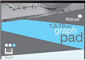 Silvine A3 Professional Graph Pad. 50 Sheets of Quality 90gsm Paper, Printed 1-5-10mm Graph. Ref A3GP1510