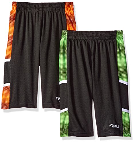 CB Sports Little Boys Multi Pack Athletic Shorts, 2 Pack -Neon Orange/Neon Lime -SK90, ()