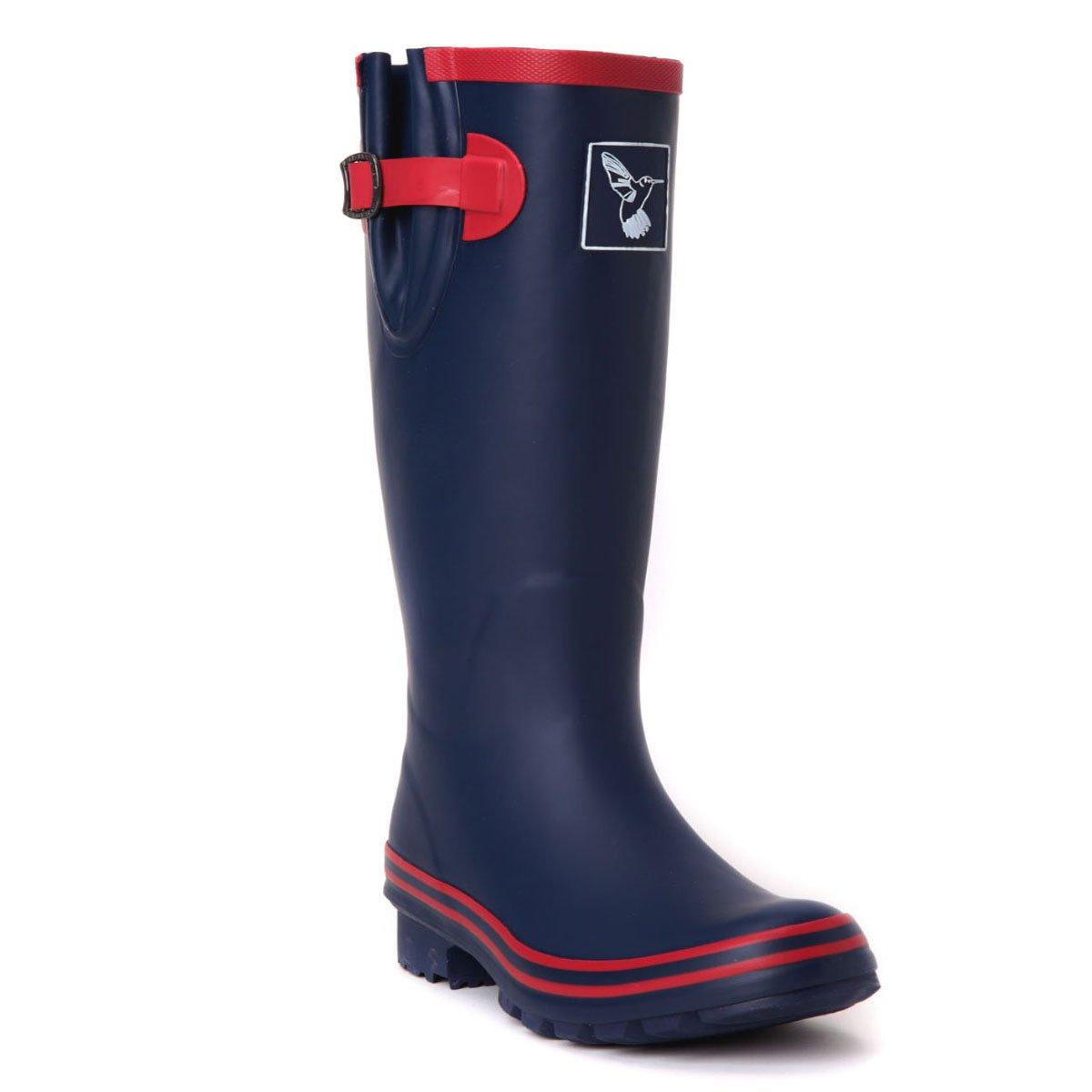Evercreatures Women's Rain Boots UK Brand Original Tall Rain Boot Gumboots Wellies B01M5FS20E 10 B(M) US / UK8 / EU41|Blue + Red