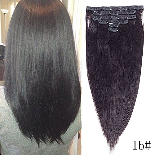 Weave Sofa (14inch clip in Remy human hair 6 pcs hair extensions straight 1b# Very sofa style realy silty and beauty (14, #1b))