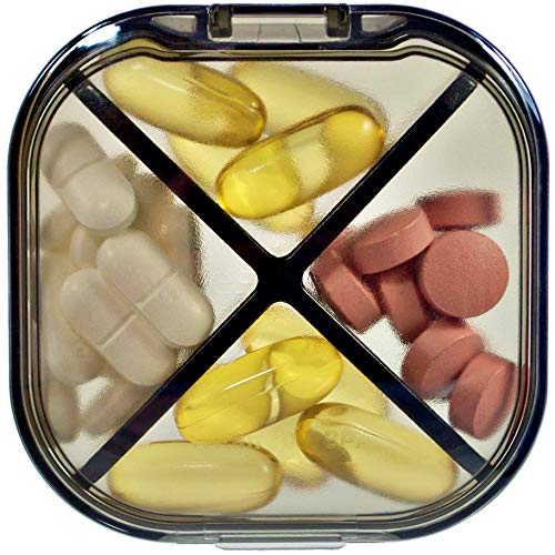 Pill Case - Portable Travel Tablet Medicine Vitamins Organizer Box for Purse or Pocket. BPA Free Daily Medication Carry Case with Removable Compartment (Black)