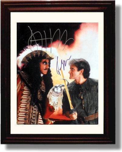 (Framed Dustin Hoffman and Robin Williams Autograph Replica Print - Hook)