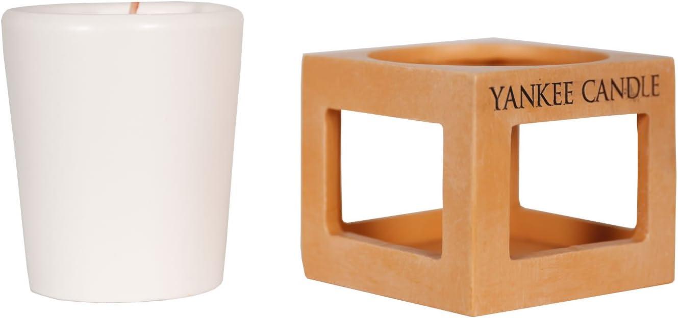 Combinaison YANKEE CANDLE 1507927 Photophore pour Bougie Votive Terre Cuite-Orange 7,3x7,5x8,1 cm