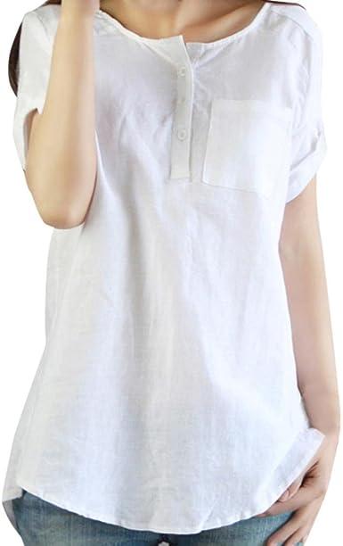 Lenfesh Blusa para Mujer Verano Elegante Camiseta Manga Corta Mezcla de algodón Mujer Camisetas Color sólido con Bolsillo Talla Grande Mujer: Amazon.es: Ropa y accesorios
