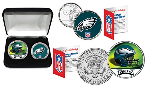 PHILADELPHIA EAGLES Officially Licensed NFL 2-COIN SET w/ Deluxe Display (Color Team Mint Coin)