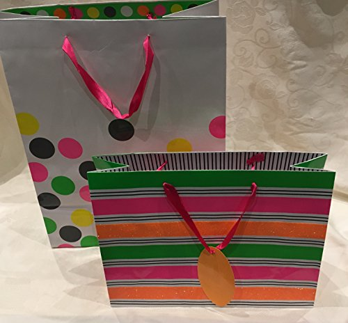 Merry Bright Glitter (All Occasion Gift Bag Set Glossy Bright Colorful Stripes / Polka Dots with Glitter 10 Bags TWO DIFFERENT SIZES: (5)13