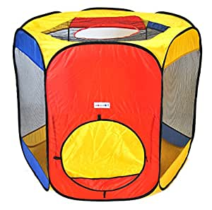 Six Sided Hexagon Twist Play Tent w/ Ball Stopper & Safety Meshing for Child Play Visibility