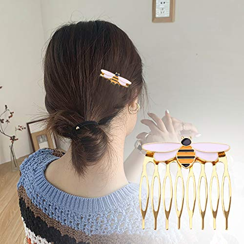 3Pcs Hairpins Exquisite Queen Bee Hair Side Combs Decorative Teeth Hair Combs Pins Clips Hair Accessories Jewelry Gift for Women Girls (3pcs)