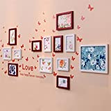 WillST Photo Frame Wall Mounted Wooden Set Effect Combination 13pcs Home Decoration , b